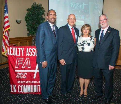 (Left to Right): Dr. Shaun L. McKay, President, Suffolk County Community College; Richard C. Iannuzzi, President NYSUT; Professor Ellen Schuler Mauk, Suffolk County Community College; Kevin Peterman, President, Suffolk County Community College Faculty Association.