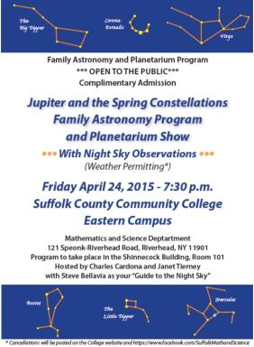 Jupiter and the Spring Constellations Family Astronomy Program 2015