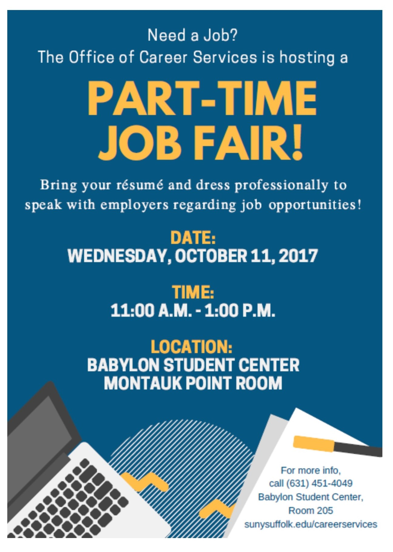101117 part time job fair hosted by suffolk county community college office of career services cooperative education suffolk county community college