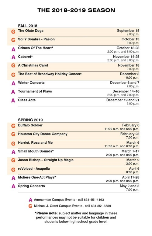 Sccc Grant Campus Map.The Arts At Suffolk County Community College Theater Schedule